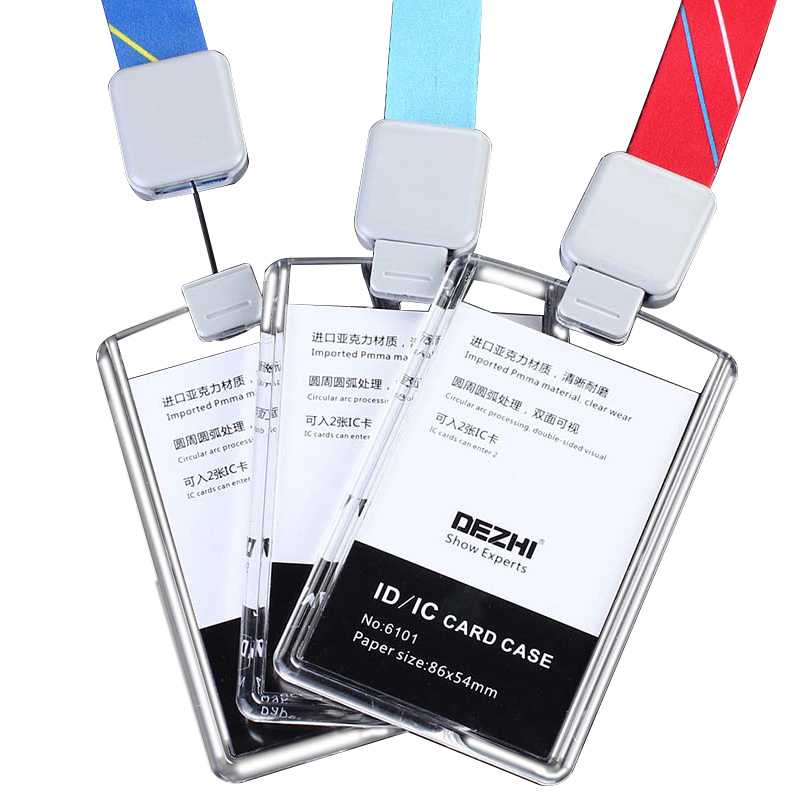 DEZHI Brand New Retractable Custom Lanyard With Full Transparent Business ID IC Card Holder,Vertical Horizontal Available