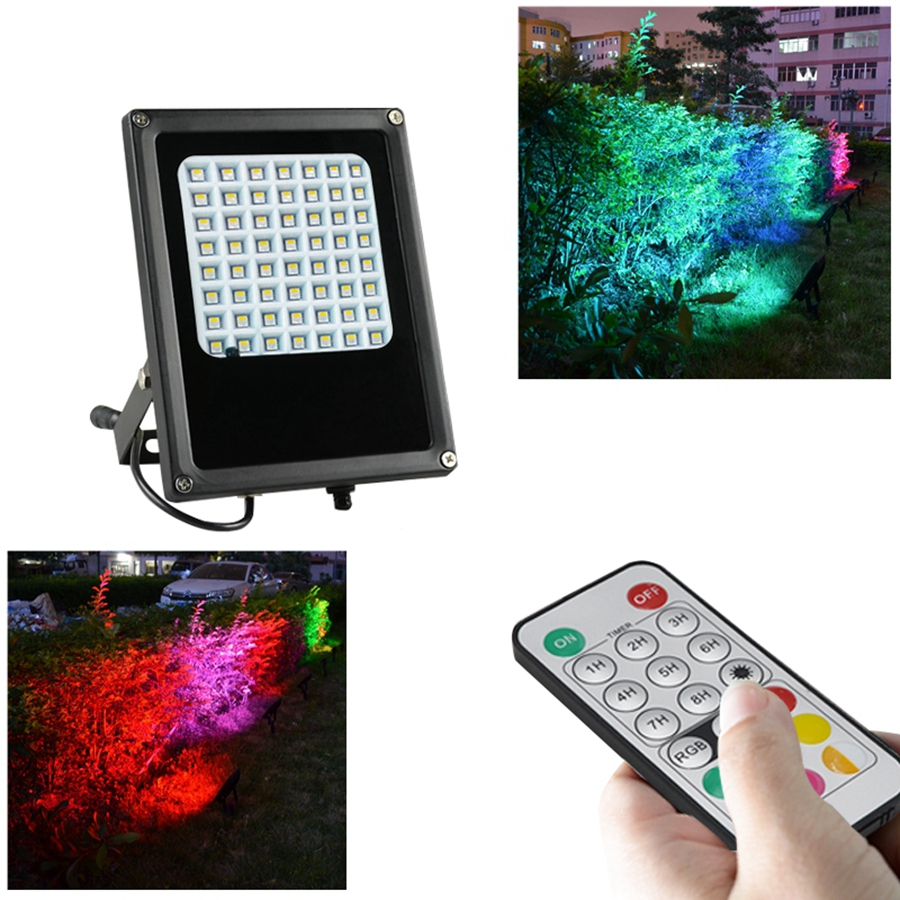 56LED RGB Color Changing Outdoor Security Floodlight IP65 Waterproof Remote Control Landscape Lighting Solar Spotlight 30cm color changing remote control party pool magic waterproof rgb night lighting lamp globe