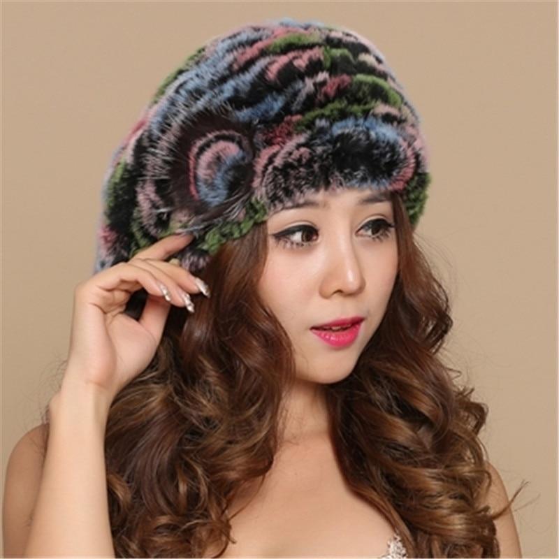 Rex arnab beret wanita musim sejuk kulit cape kelinci topi bulu topi - Aksesori pakaian - Foto 3