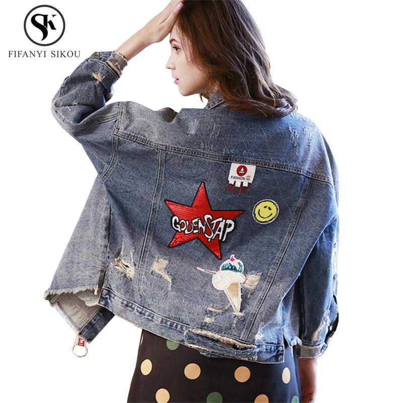 Patch Harajuku Base Denim Femmes De Blue Streetwear Designs Trou Femelle Manteau Lâche Paillettes Jeans Veste Mode Automne qzwgrq