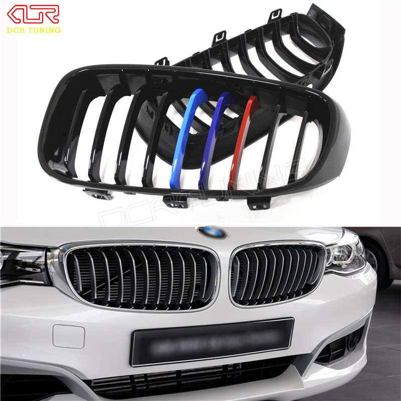 For BMW 3 Series Gran Turismo F34 2013 2014 2015 - UP ABS + Carbon Fiber Front Grille Single Slat Gloss single grid gloss black front bumper grill replacement for bmw 3 series f34 gt gran turismo 320i 328i 335i 2013 2014 2015 2016