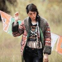 Aporia.As Autumn Winter Vintage&Retro Ethnic Berber Fleece Collar Indian Totem Print Cowboy Coat Short Warm Thick Wadded Jacket