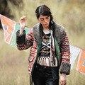Aporia. Como O Outono Inverno Berber Fleece Colar Vintage & Retro Étnico Indiano Totem Impressão Cowboy Casaco Curto Grosso Quente Casaco amassado