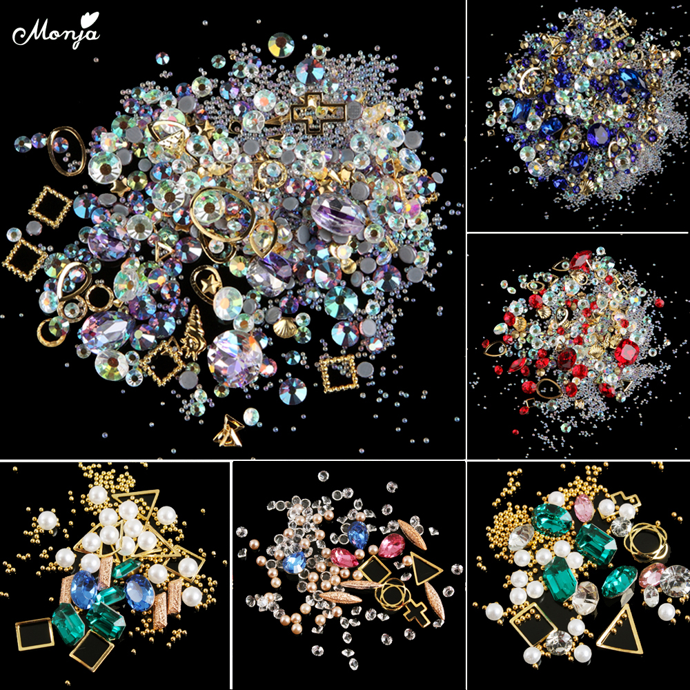 Nail Art Decoration Beads Rhinestone Hollow Shell Glitter DIY Accessories