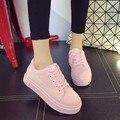 Женский корейский стильный туфли на платформе толстым дном линия Марка повседневная обувь zapatos де mujer леди милый розовый открытый обувь