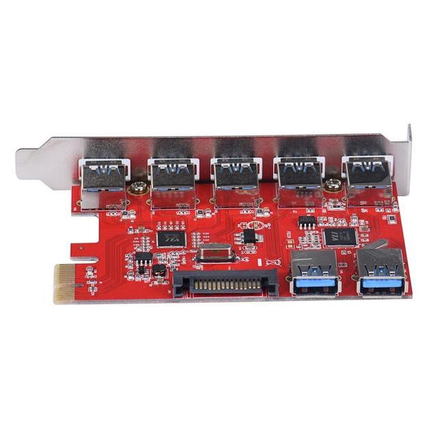 Alta velocidad 5 + 2 Port USB 3.0 PCI-E tarjeta PCI Express USB 2.0 y 1.1 Ull canal dúplex. adaptador de la tarjeta