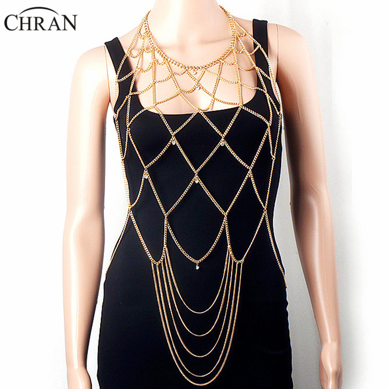 Chran Luxury Sexy Crystal Beach Chain Wear Women Necklaces&Pendants Tassel Alloy Punk Long Necklace New Female Fashion Jewelry