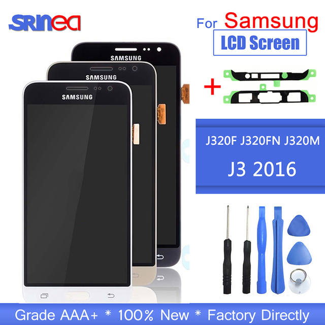 For Samsung J3 2016 LCD J320F J320FN J320M LCD Display Touch Screen Digitizer J320F LCD For Galaxy J3 Display With Adhesive Tape