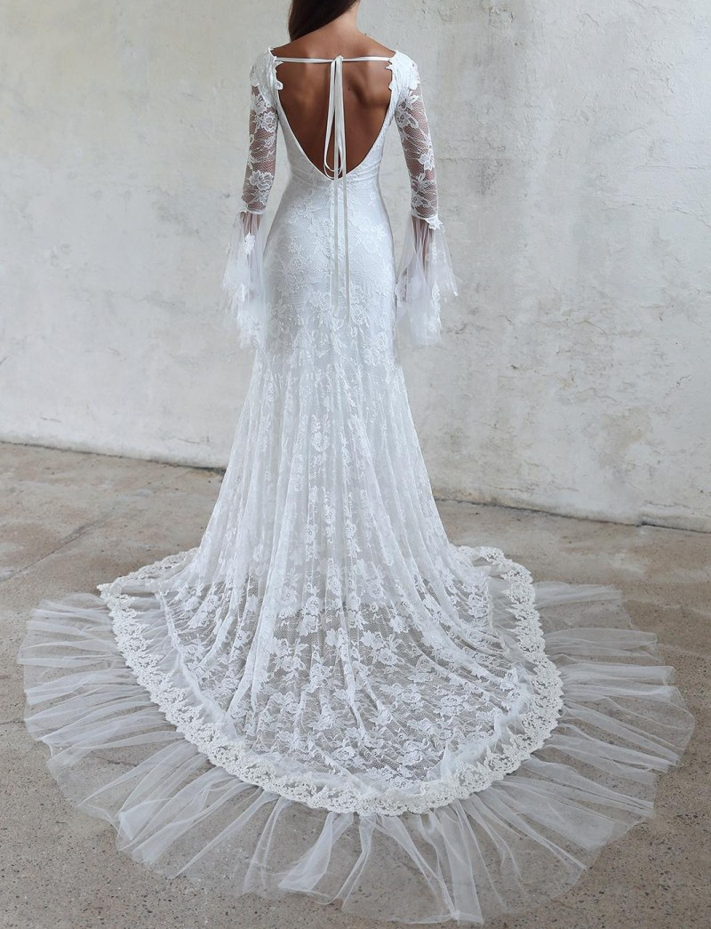 Unique Design Vintage Lace Wedding Dresses Backless Long Sleeves ...