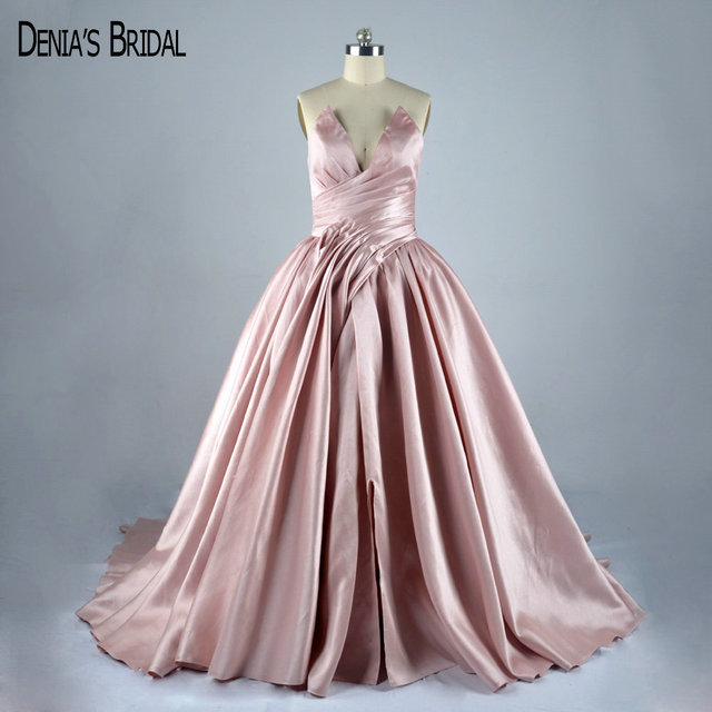 77426b79f5c Pink Sweetheart Pleated Ball Gown Evening Dresses with Front Slit Silk Satin  Sleeveless Chapel Train Prom Gowns