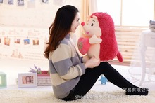 big plush Hedgehog toy lovely red Hedgehog hold a heart gift about 60cm