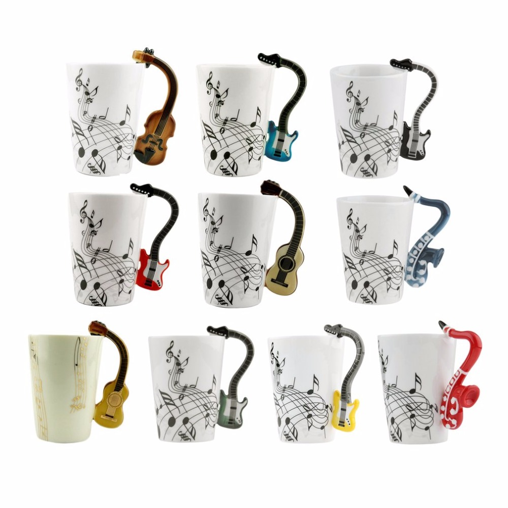 2017 Novelty 220ml Ceramic Cup Personality Music Note Milk Juice Lemon Mug Coffee Tea Cup Christmas New Year Gift 9 Styles