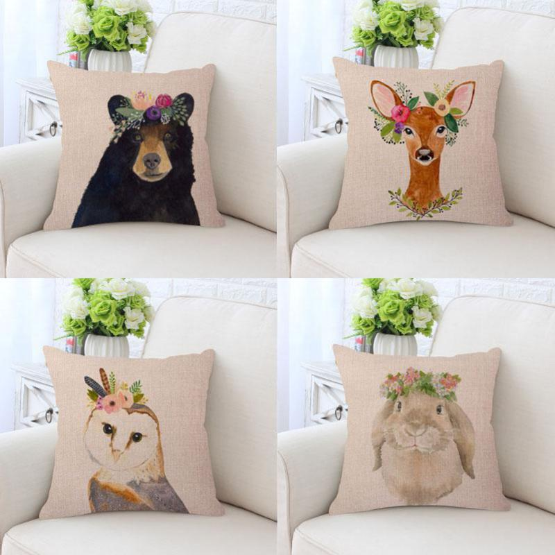 Cute Animal Print Hedgehog Pillow Case Zoo Peter Rabbit Spring Flower Decoration Flamingo Deer Head Cushion Cover For Kids Gift