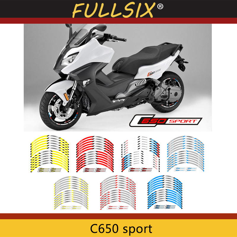 Motorcycle Front And Rear Wheels Edge Outer Rim Sticker Reflective Stripe Wheel Decals For BMW C650 Sport