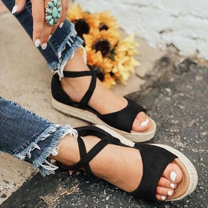Puimentiua Women Sandals Gladiator Peep Toe Buckle Design Roman Sandals Women Flat Shoes Summer Beach Ladies Shoes Sandals #NewPuimentiua Women Sandals Gladiator Peep Toe Buckle Design Roman Sandals Women Flat Shoes Summer Beach Ladies Shoes Sandals #New