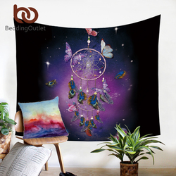 BeddingOutlet Dreamcatcher Tapestry Romantic Purple Wall Hanging Dreamlike Butterfly Wall Carpet Feathers Decorative Tapestry