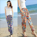 Floral Print Women Wide Leg Pants Summer Ankle-Length Female Beach Casual Style Pants Elastic Waist Trousers For Women Wt91382