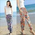 Mujeres de la Impresión Floral Pantalones Anchos de La Pierna Tobillo-Longitud Playa Femenino de Verano Estilo Casual Pantalones de Cintura Elástica Para Las Mujeres Wt91382