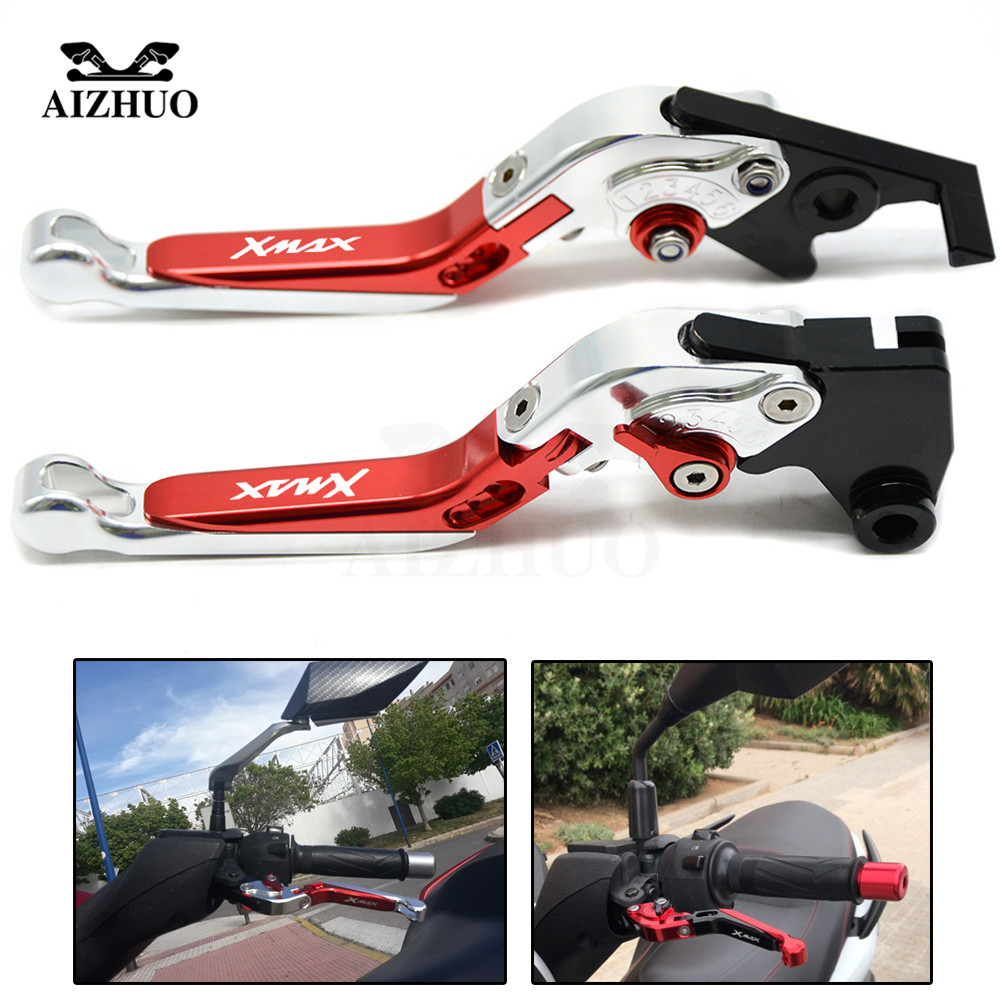 For YAMAHA X-MAX X MAX XMAX 125 200 250 400 XMAX250 XMAX400 XMAX200 Motorcycle Adjustable Foldable Brake Clutch Levers for gilera piaggio x evo 400 x8 x9 125 200 250 500 silver motorcycle aluminum adjustable short left right brake levers
