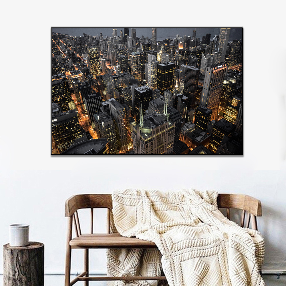 Unframed HD Canvas Print Painting Modern Landscape Night Light Buildings Giclee Posters Wall Picture For Living Room Home Decor