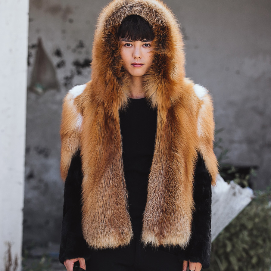 Поддержка пользовательские Для мужчин лиса меха с капюшоном пальто лиса Мех животных и норки кожи куртка роскошные золотые Цвет Супер тепл