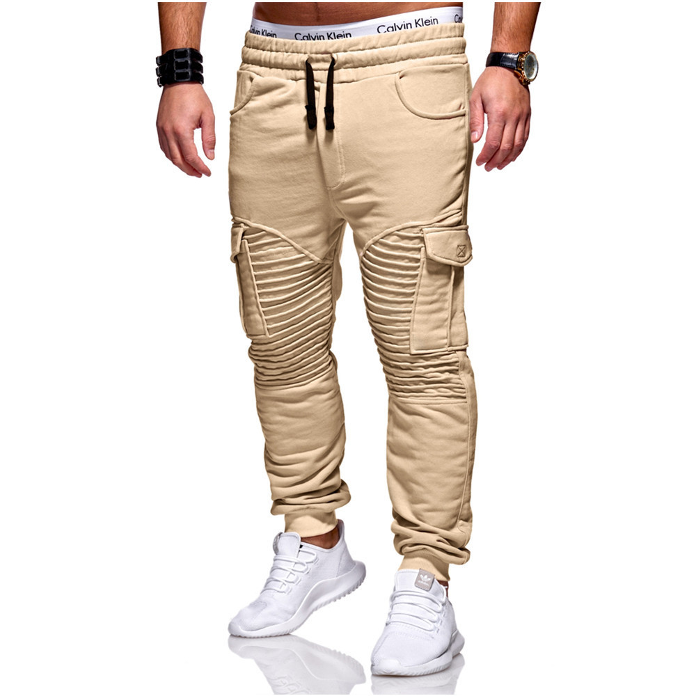 Men Joggers Sweat Pants Casual Trousers Apparel Autumn Winter New Mens Pleated Fitness Pants Many Multi-pocket Casual Pants