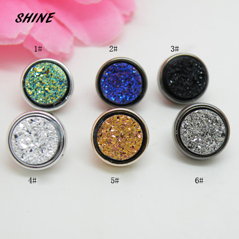 SHINE Resin Sewing <font><b>Button</b></font> Scrapbooking Round Multicolor Single Hole Imitation Ore Rhinestone <font><b>10mm</b></font> Dia. 12 PCs Costura Botones image