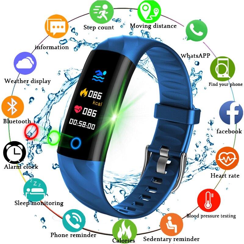 2018 Smart Sport Uhr Schrittzähler Herz Rate Monitor Blut Sauerstoff Fitness Tracker Smart-Armband Sport Uhr Schwimmen Wasserdichte