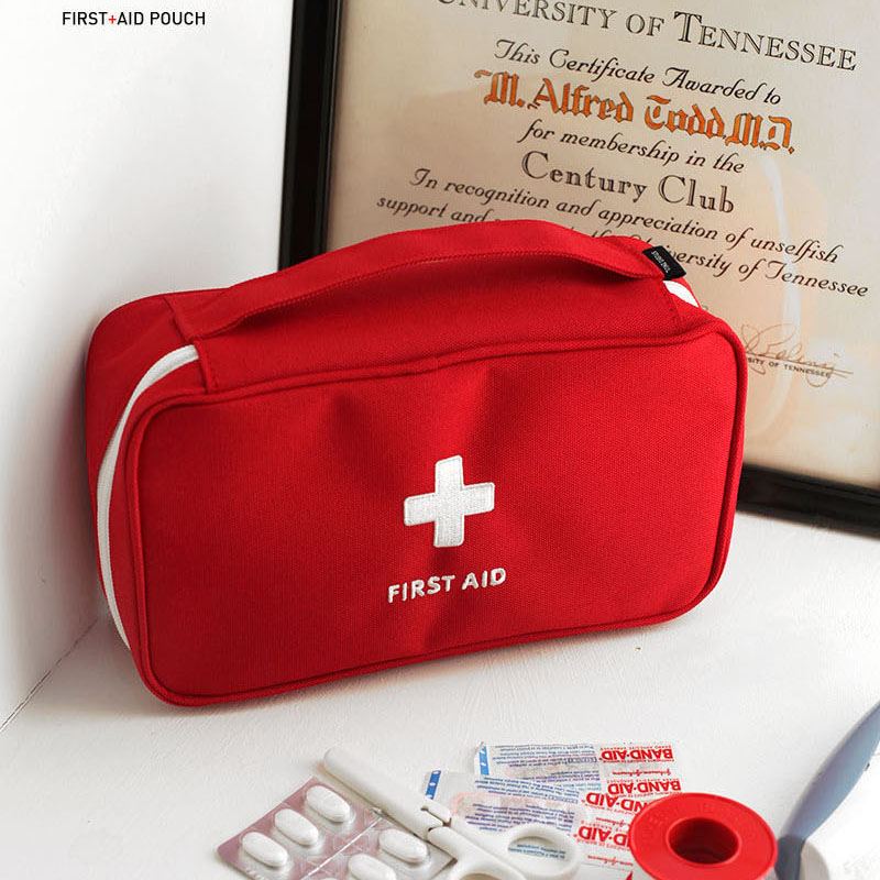 First Aid Kit Bag Emergency Kits Portable Medical Package For Outdoor Tour Camping Travel Survival Safety Rescue Bag Red Grey outdoor survival 12 in 1 emergency bag first aid kit bag middle size red emergency survival medical kit treatment pack
