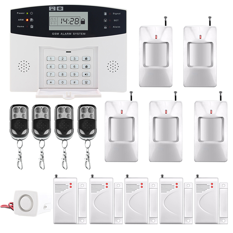 Saful LCD Display SMS and Smoke Sensor Wireless GSM & Home Security Alarm System hot sale Russian/English/Spanish/French voice russian french spanish voice quad band gsm home security alarm system gsm sms intercom lcd display with door security sensor