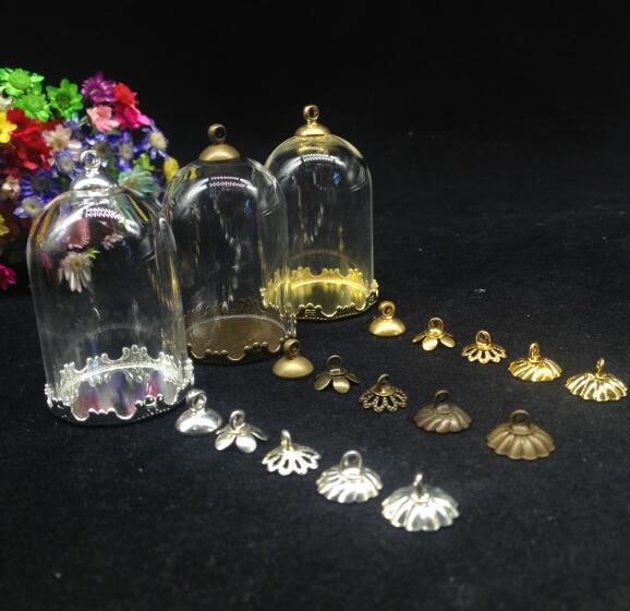 300sets lot 38 25mm mix color bell jars shape glass globe crown base cap diy glass