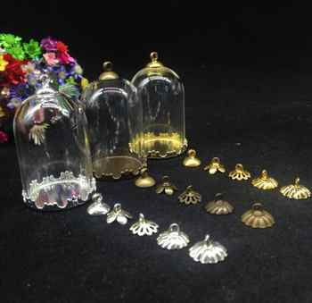 300sets/lot 38*25mm mix color bell jars shape glass globe crown base cap diy glass vial pendant handmade empty crystal finding - DISCOUNT ITEM  5% OFF All Category