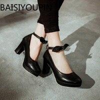 נשים גרסה קוריאנית גבירותיי נעלי עקבים גבוהים Paltform נשי נעלי נסיכה מילת חגורת קשת עבודת נעליים יחידה גודל גדול 42 43