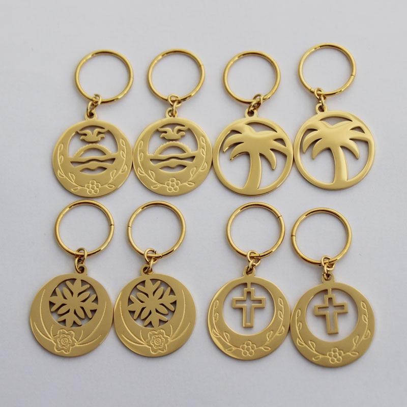 Hot Sales Rould Flower Cross Coconut Tree Earring Kiribati Flag Gold Earring For Women