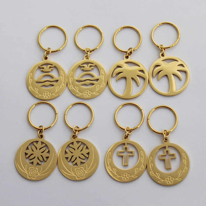 Hot Sales Rould Flower Cross Coconut Tree Earring Kiribati Flag Gold Earring For Women