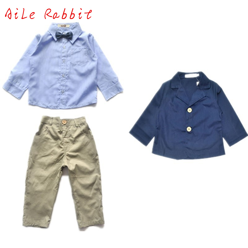 2-8yrs Spring Autumn 2016 New European Boy Striped Shirt + Tie +coat + Trousers Handsome Casual Suit Children Boys Clothes Sets