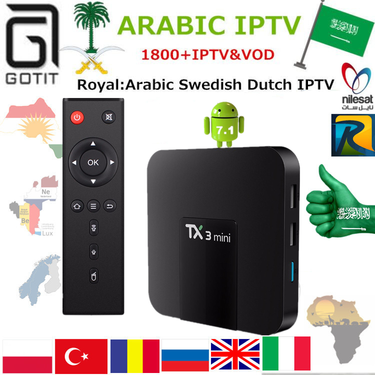 US $68 82 26% OFF|Arabic Royal IPTV TX3MINI 4K TV Box with 1850+Europe  Swedish Dutch Persian Albanian Netherland African TV Smart Set top Box-in