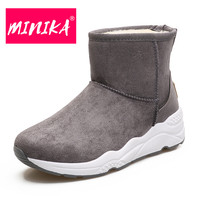 MINIKA New Arrival 2017 Winter Shoes Women Non Slip Durable Rubber Outsole Warm Plush Women Ankle