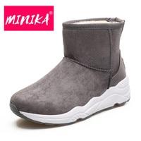 MINIKA New Arrival 2017 Winter Shoes Women Non Slip Durable Rubber Outsole Warm Plush Women Ankle