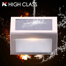 5F Good Quality Stainless Steel Outdoor Rainproof LED Garden Solar Light Wall Lamp Solar Step Light