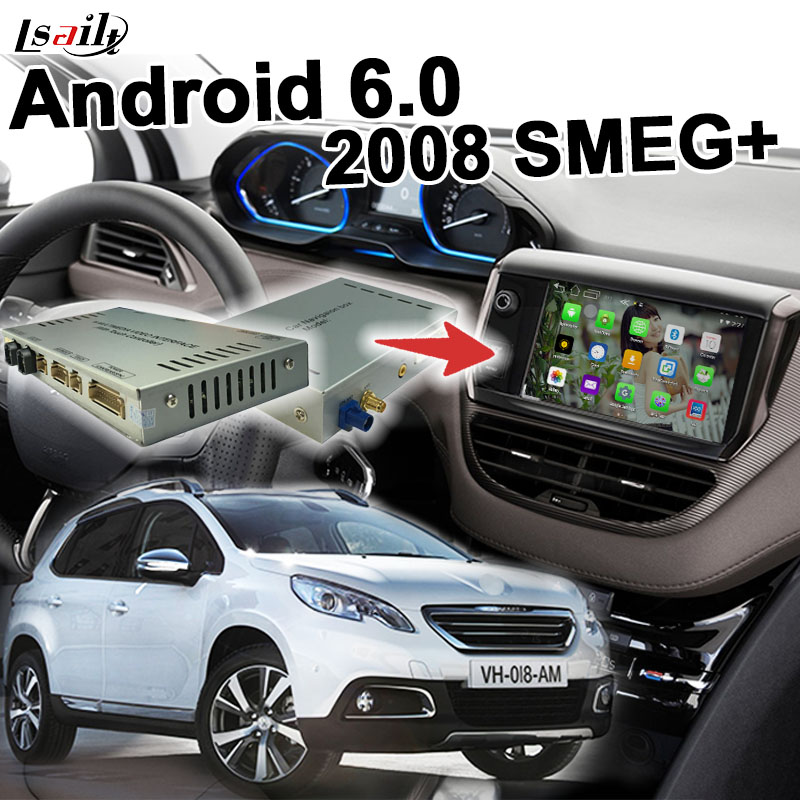 US $450 0 |Android 6 0 GPS navigation box for Peugeot 2008 MRN SMEG+ system  video interface box mirror link youtube yandex waze-in Vehicle GPS from