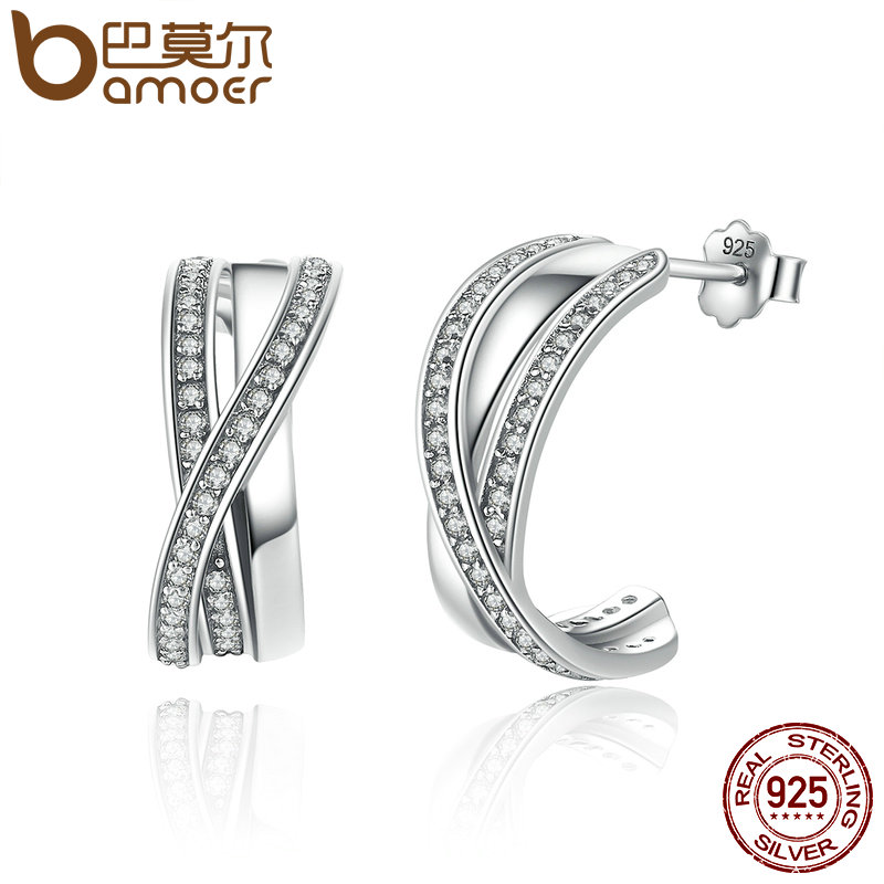 BAMOER Genuine 100% 925 Sterling Silver Entwined with Clear CZ Stud Earrings for Women 925 Silver Special Store PAS493 tosca blu 15tb437 white