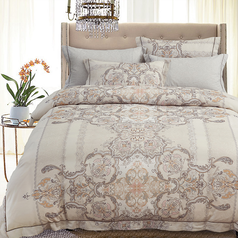 Reactive Printing Bedding Set Super Soft Cotton Duvet Cover Flat Sheet Pillowcase Boho Bed Set Queen King Size