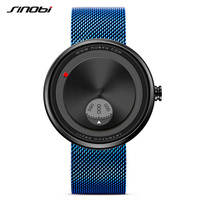 SINOBI New Arrival Creative Sports Watch Men Stainless Steel Mesh Strap Fashion Mens Rotate Dial Plate