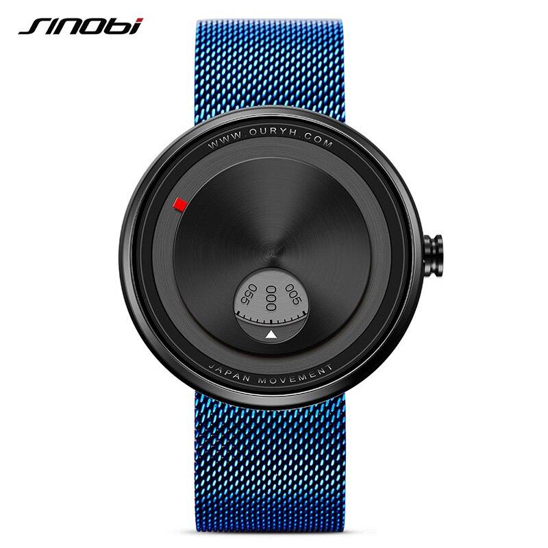 SINOBI New arrival Creative Sports Watch Men Stainless Steel Mesh Strap Fashion Mens Rotate Dial Plate Quartz Wristwatches 2017