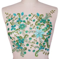 bi.Dw.M Green beaded sequin Rhinestone Applique Patch 27x31cm For Sewing Appliques Evening Wedding Dress Decoration Costume Trim