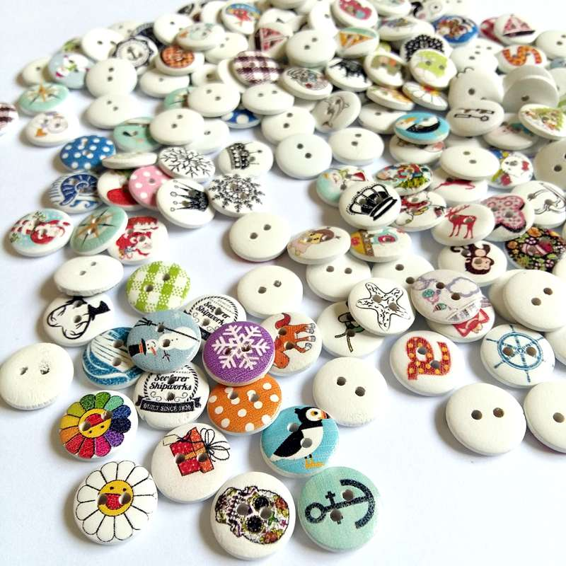 50/100pcs/pack  Mix Round Pattern 15mm Natural Wooden Button 2 hole Sewing children Buttons for handmade Accessories