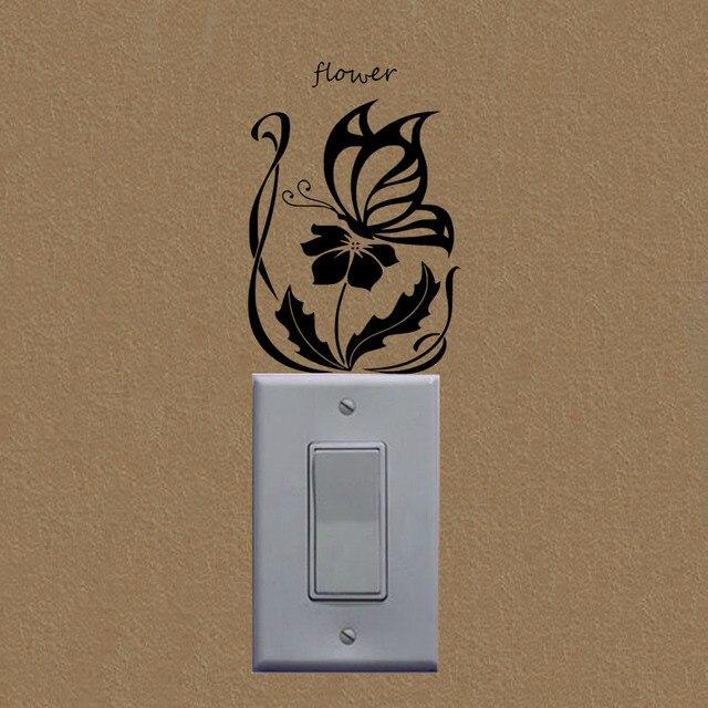 41a2d1675439 Butterflies Flower Vinyl Art Wall Sticker Girl Room Personalized Switch  Stickers A3243