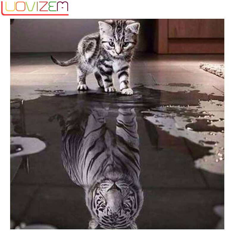 New Craft Cat Reflective Diamond Embroidery 5D Diy Art Animal Mosaic European Home Decor LUOVIZEM	L091