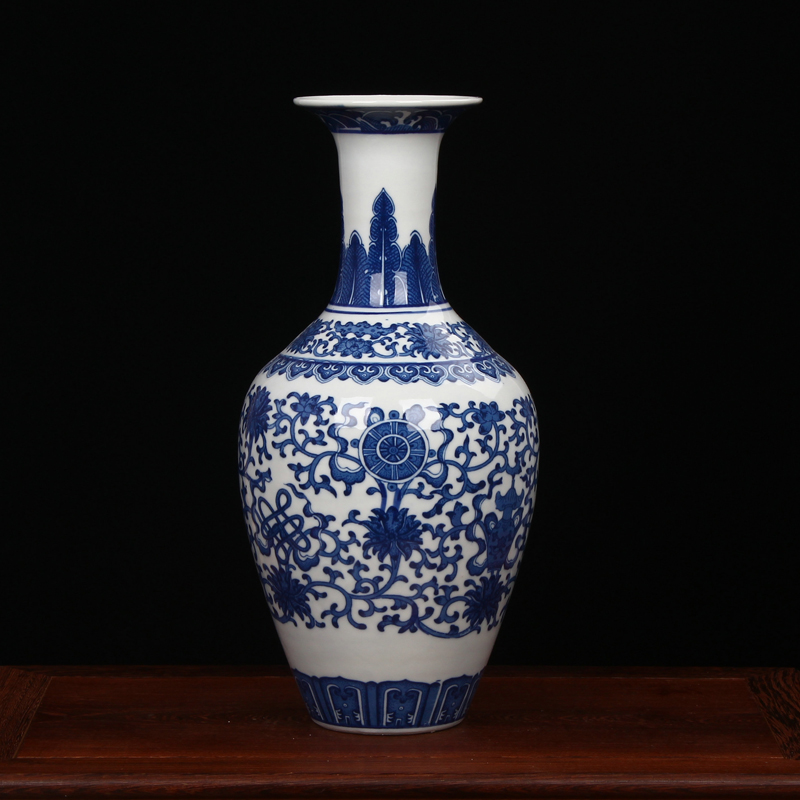 AliExpress & US $78.0  Jingdezhen Porcelain vase chinese ceramic vase China flower pot vase modern Chinese crafts blue and white flower porcelain vase-in Vases ...